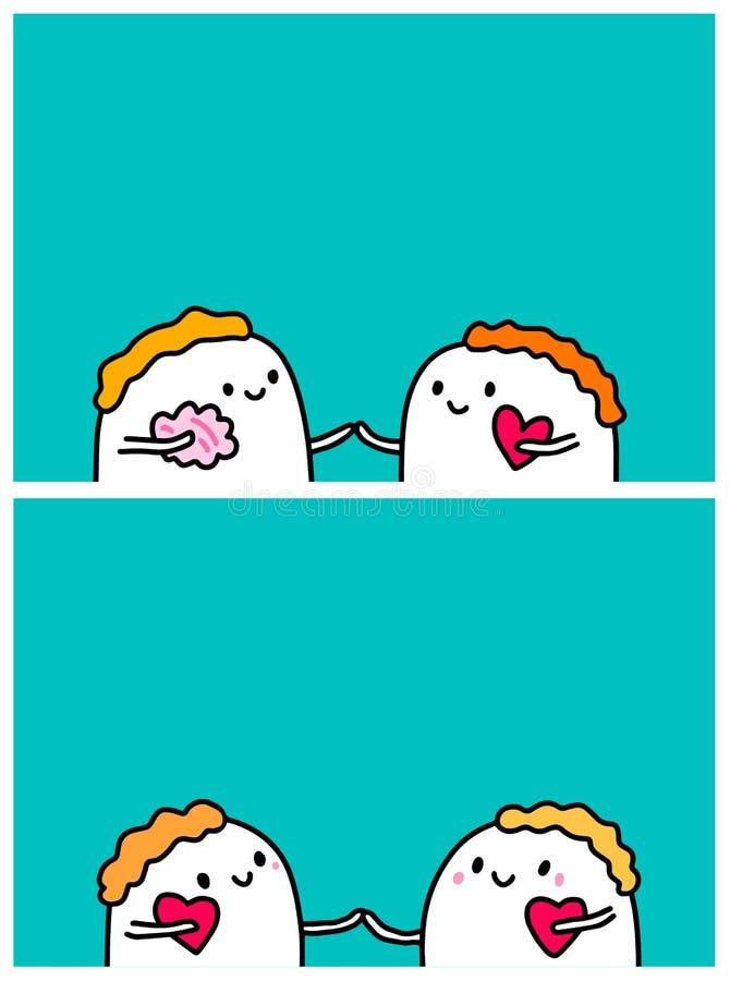 Cerveau ou coeur Relations dans les couples Illustrations tirées par la main de vecteur pour des bannières d'affiches de cartes illustration libre de droits