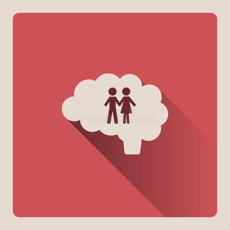 Cerveau pensant à l'illustration de couples sur le fond rouge avec l'ombre illustration de vecteur