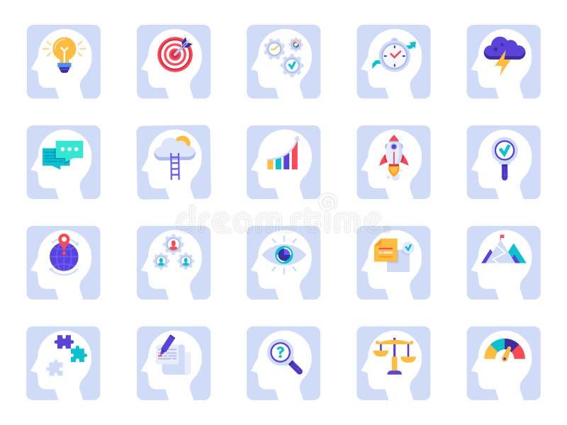 Cerveau pensant les icônes de processus Idée d'affaires, solution de succès dans la tête d'homme d'affaires et icône plate de psy illustration de vecteur