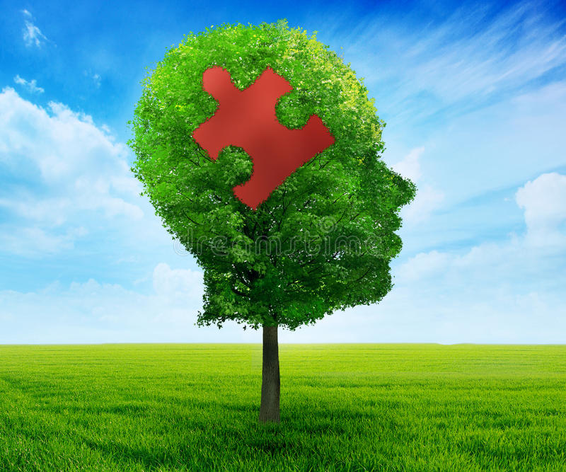 Cerveau principal de puzzle apprenant le symbole photographie stock libre de droits