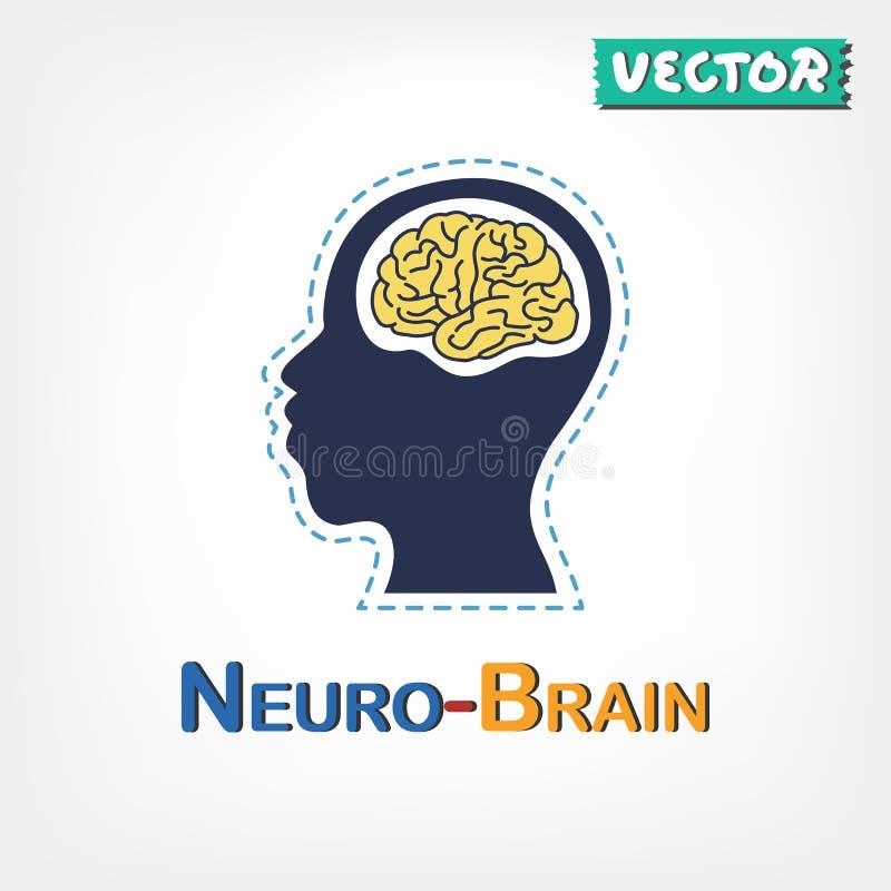 Cerveau (symbole neurologique) (conception plate) illustration de vecteur