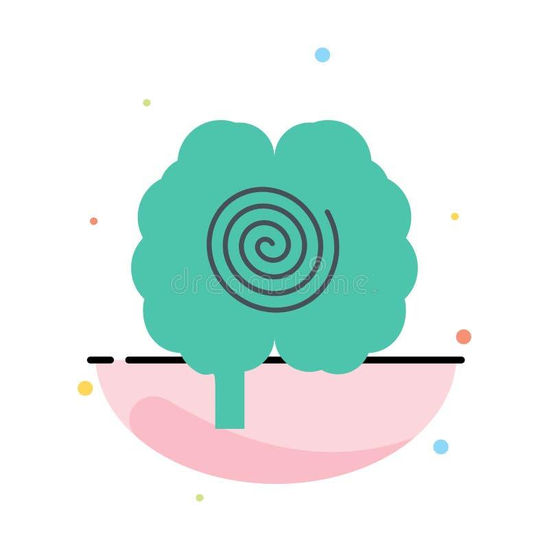 Cerveau, tête, hypnose, calibre plat d'icône de couleur d'abrégé sur psychologie illustration stock