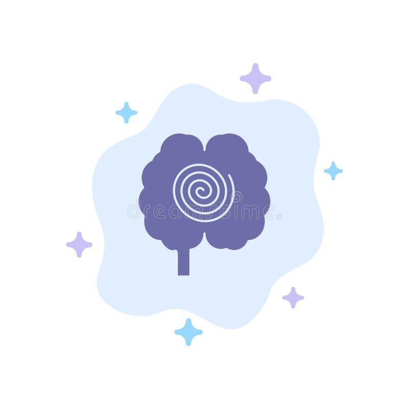 Cerveau, tête, hypnose, icône bleue de psychologie sur le fond abstrait de nuage illustration de vecteur
