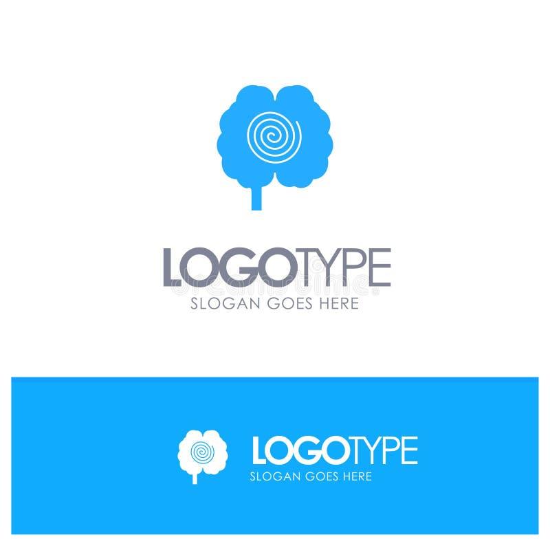 Cerveau, tête, hypnose, logo solide bleu de psychologie avec l'endroit pour le tagline illustration libre de droits