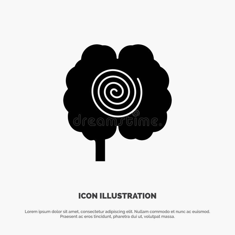 Cerveau, tête, hypnose, vecteur solide d'icône de Glyph de psychologie illustration stock