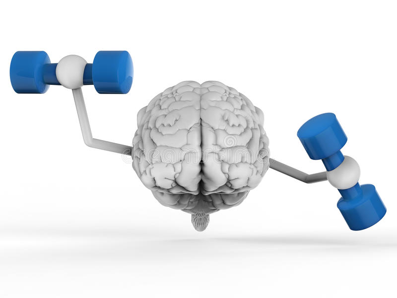 Cerveau tenant des haltères photographie stock