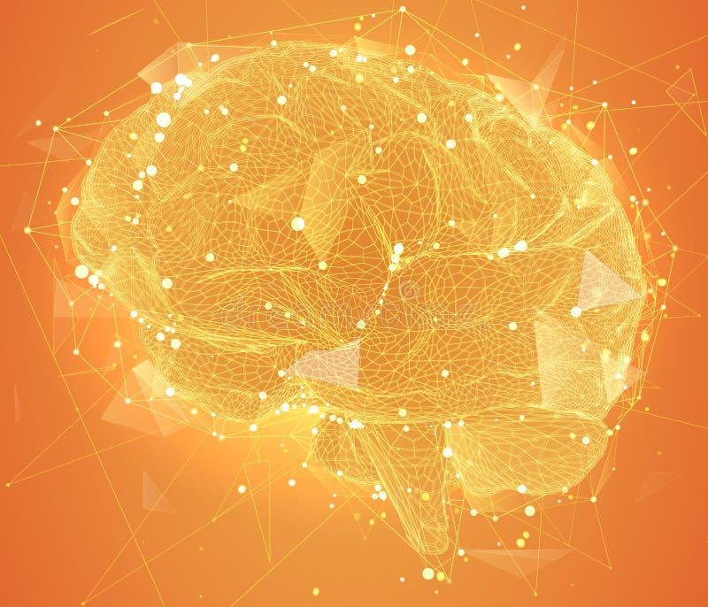 Cerveau tridimensionnel de cyber méga-données p de réseau neurologique illustration libre de droits