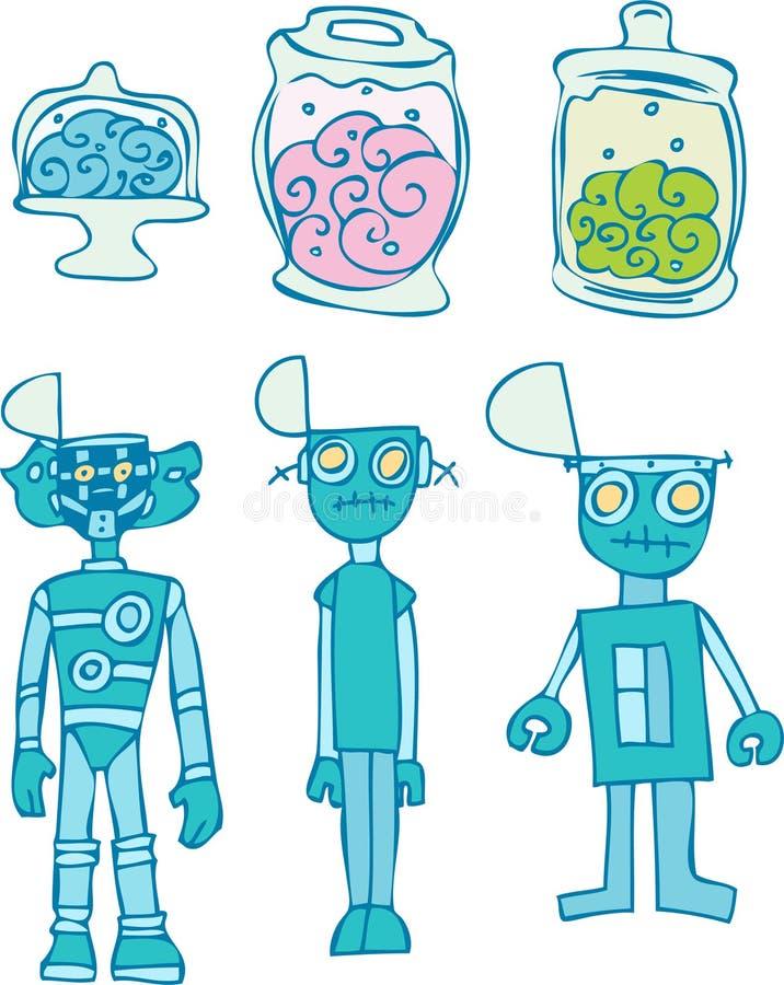 Cerveaux de robot - greffe illustration de vecteur