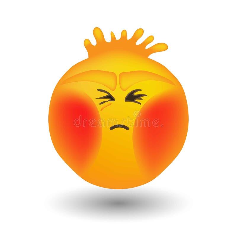 Cerveaux de souffle d'Emoji avec les joues rouges illustration stock