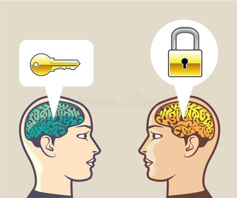 Cerveaux serrure et clé illustration de vecteur