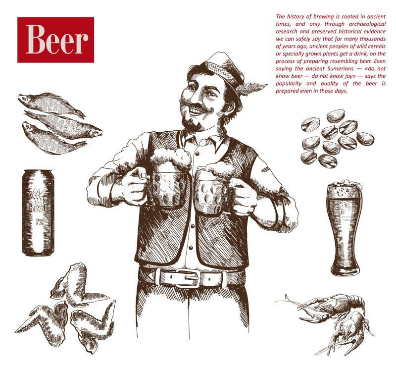 Cervecero con dos tazas de cerveza ilustración del vector