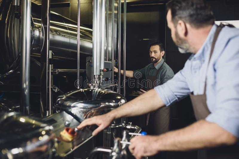 Cerveceros que trabajan con el equipo imagen de archivo libre de regalías
