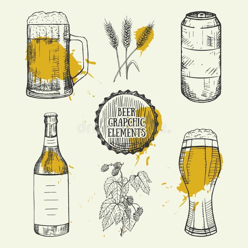 Cerveja ajustada com caneca, garrafa, lata, elementos do trigo Ilustração do vetor ilustração do vetor