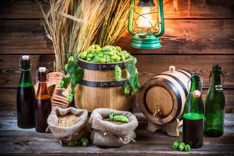 Cerveja caseiro da fabricação de cerveja na adega fotografia de stock