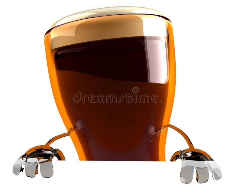 Cerveja com um sinal em branco ilustração do vetor