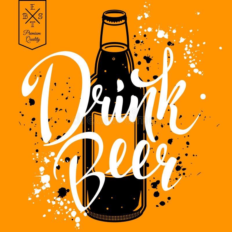 Cerveja da bebida Ilustração retro do vetor com a garrafa da cerveja ilustração royalty free
