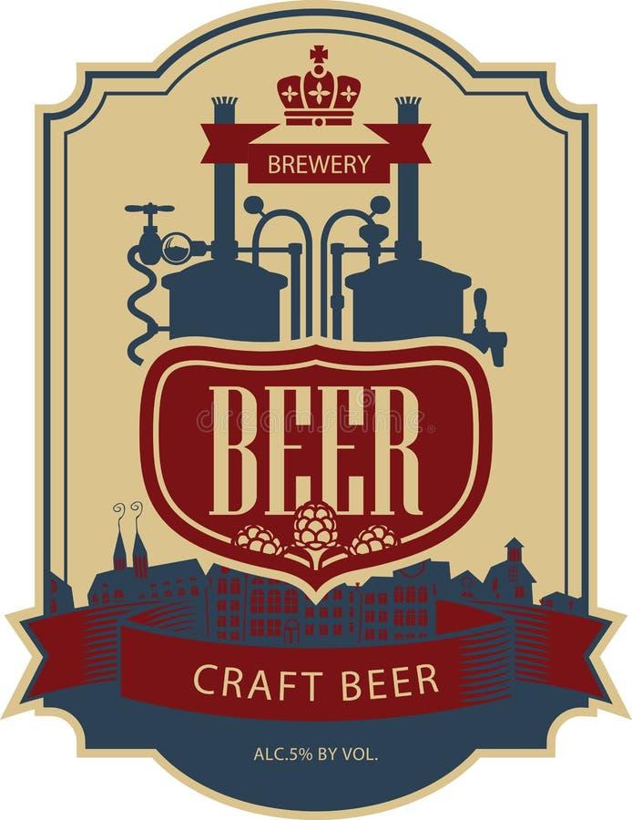 Cerveja da etiqueta com cervejaria ilustração stock