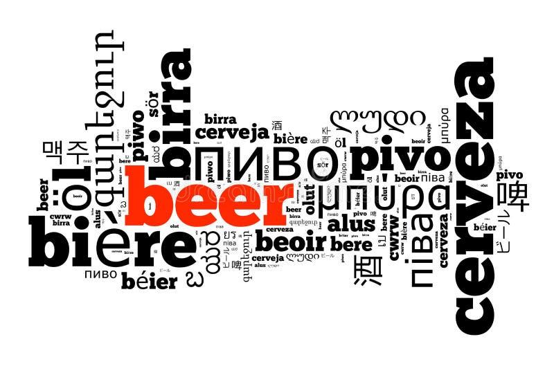 Cerveja da palavra em línguas diferentes ilustração royalty free