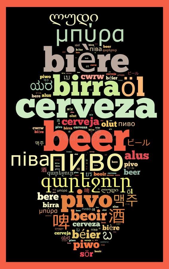 Cerveja da palavra em línguas diferentes ilustração stock