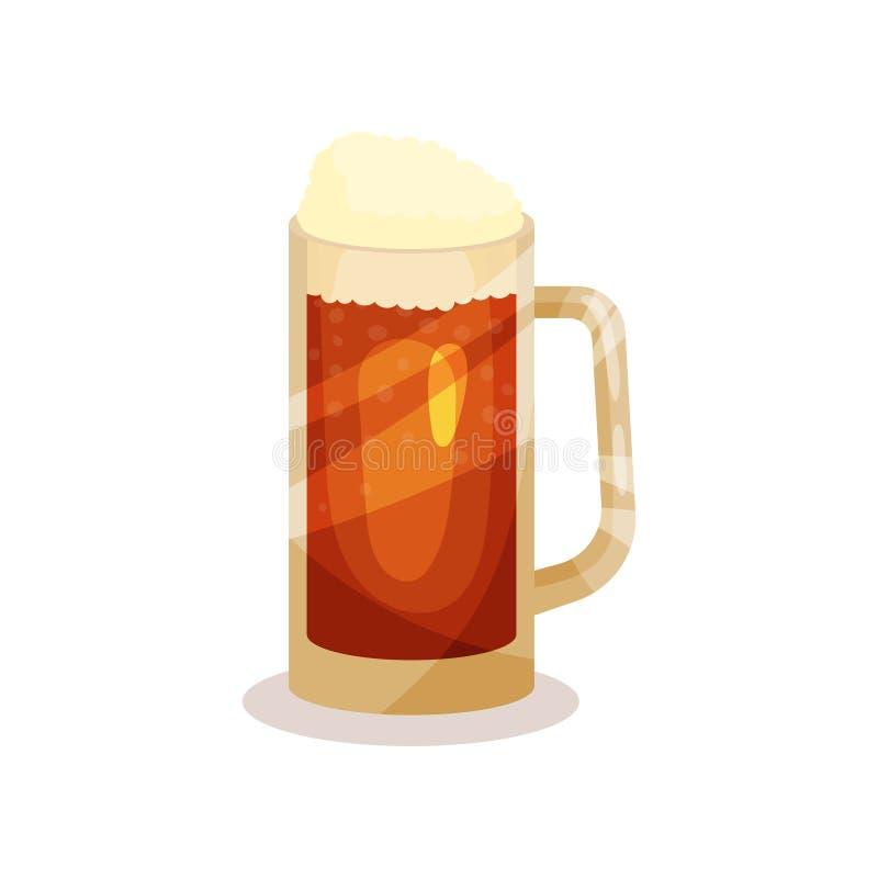 Cerveja de esboço com espuma na caneca de vidro com punho Bebida alcoólica Elemento liso do vetor para anunciar o cartaz de ilustração stock