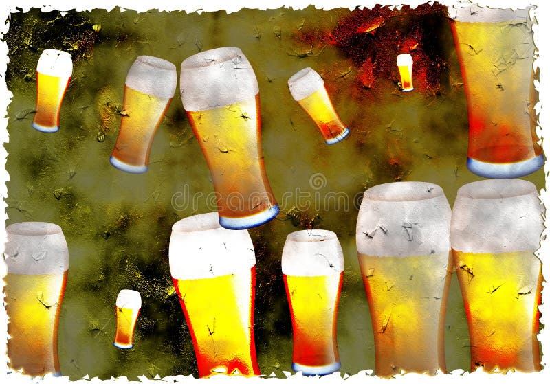 Cerveja de Grunge ilustração royalty free