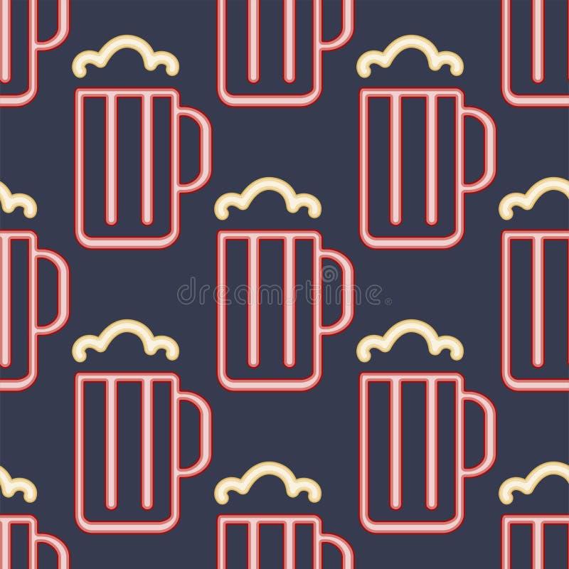 A cerveja de néon clara coloca a ilustração sem emenda do vetor do fundo do teste padrão ilustração royalty free