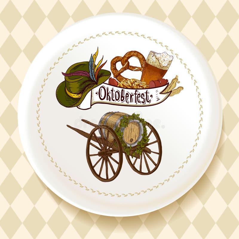 Cerveja de Oktoberfest ajustada em uma placa branca ilustração do vetor