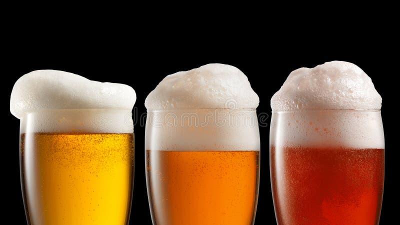 Cerveja diferente nos vidros isolados no preto fotografia de stock royalty free