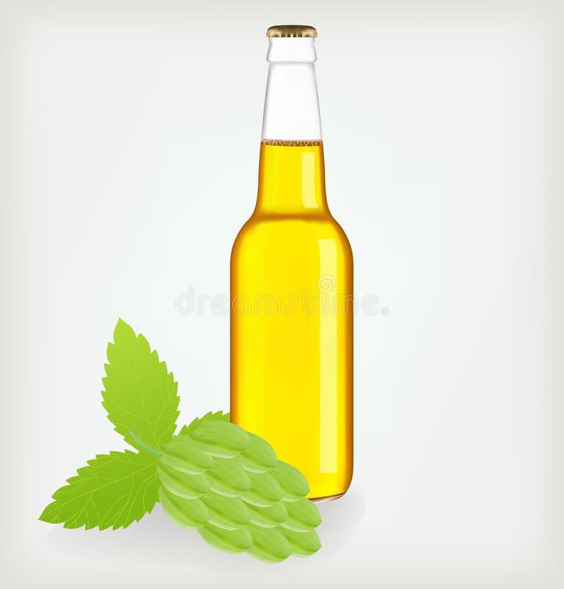 Cerveja do frasco e lúpulo verde. ilustração royalty free