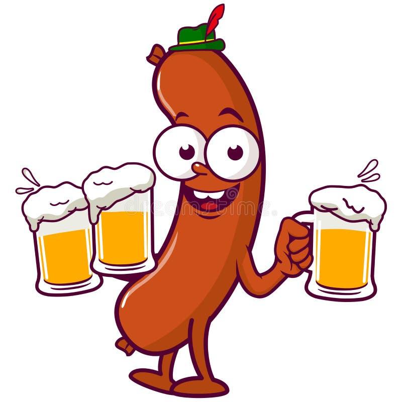 Cerveja do serviço da salsicha dos desenhos animados ilustração royalty free