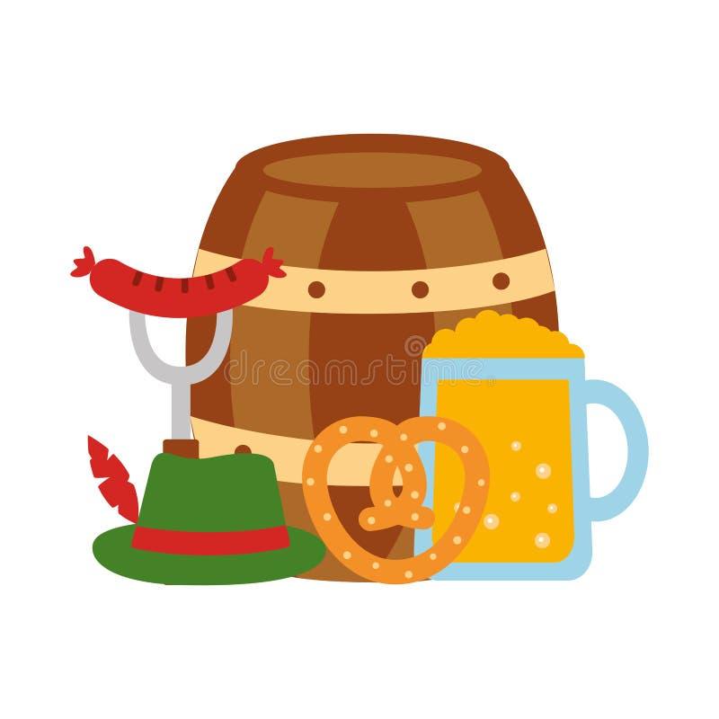 Cerveja do tambor com ?cones os mais oktoberfest ilustração royalty free