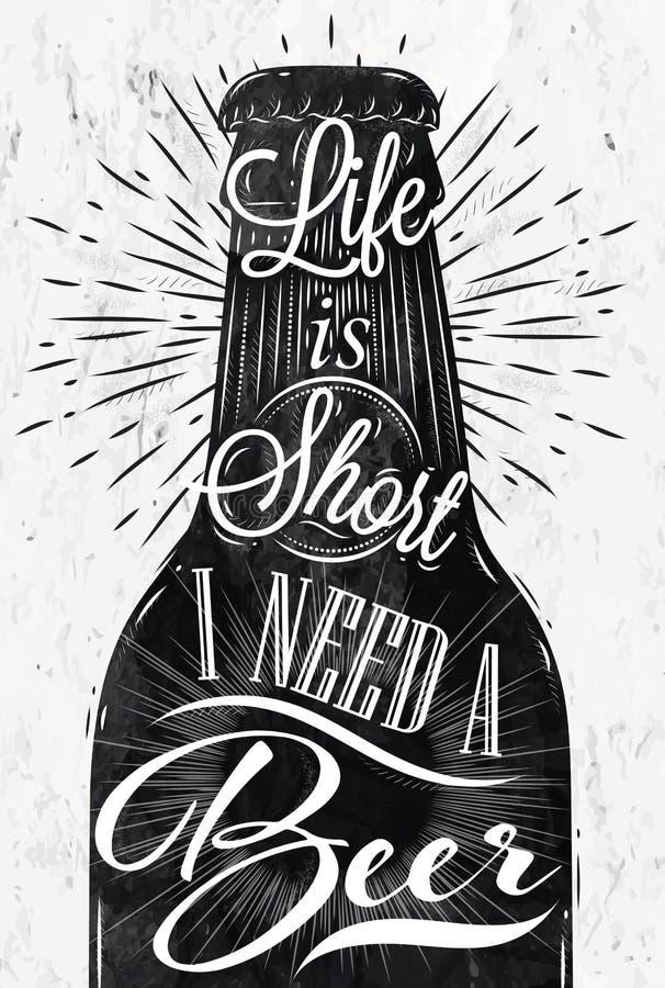 Cerveja do vintage do cartaz ilustração stock