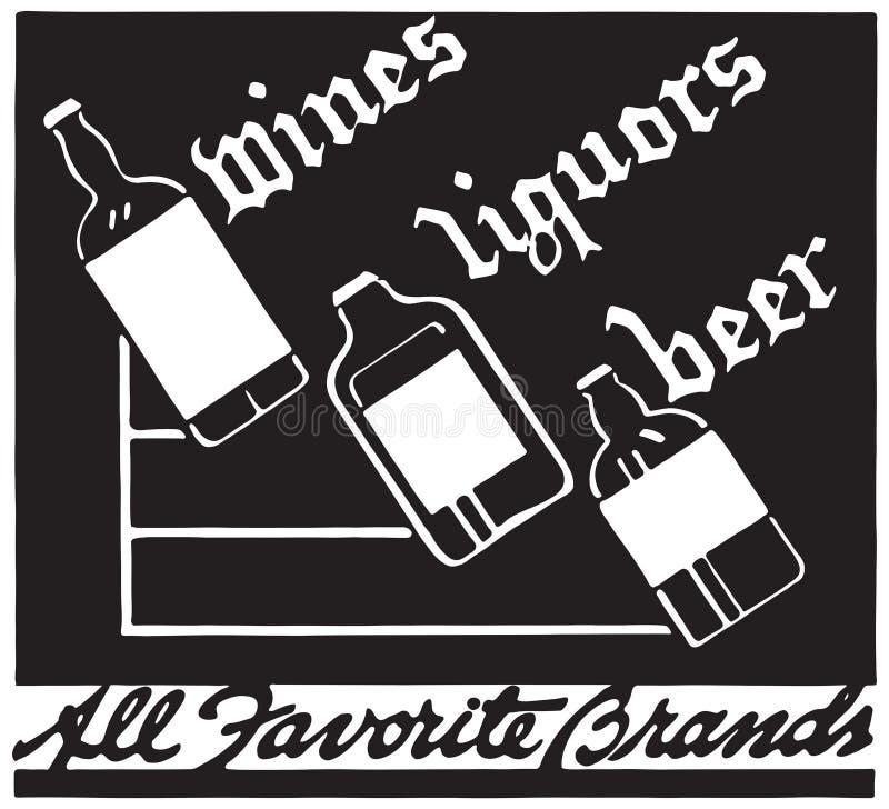 Cerveja 4 dos licores dos vinhos ilustração do vetor