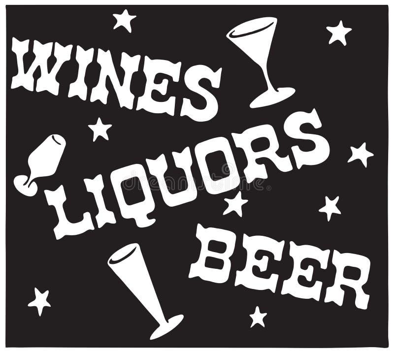 Cerveja 5 dos licores dos vinhos ilustração royalty free