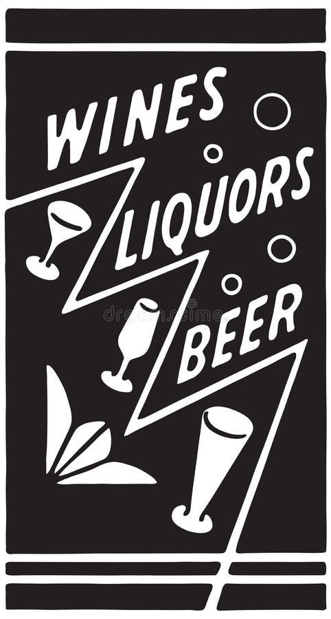 Cerveja 6 dos licores dos vinhos ilustração do vetor
