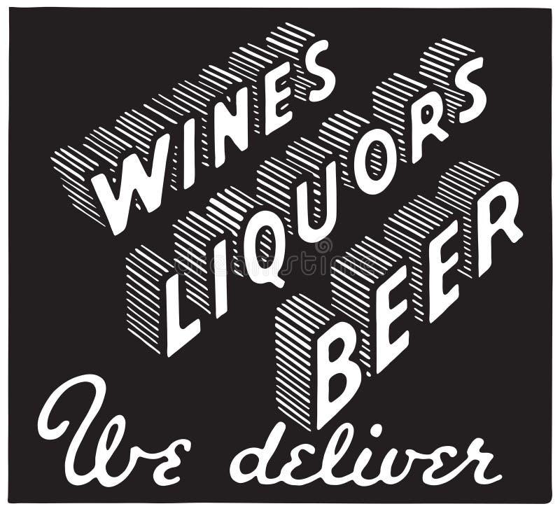 Cerveja 3 dos licores dos vinhos ilustração stock