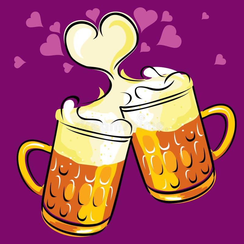 Cerveja e amor ilustração do vetor