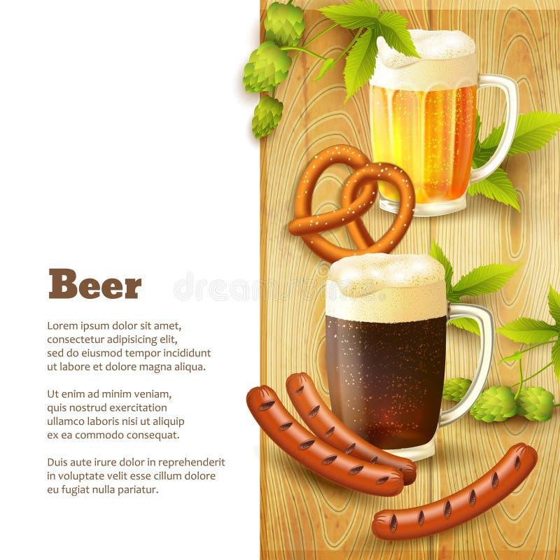 Cerveja e beira dos petiscos ilustração stock