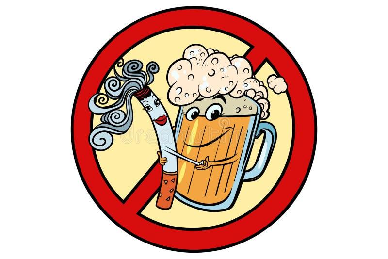 Cerveja e cigarro, proibição do sinal ilustração do vetor