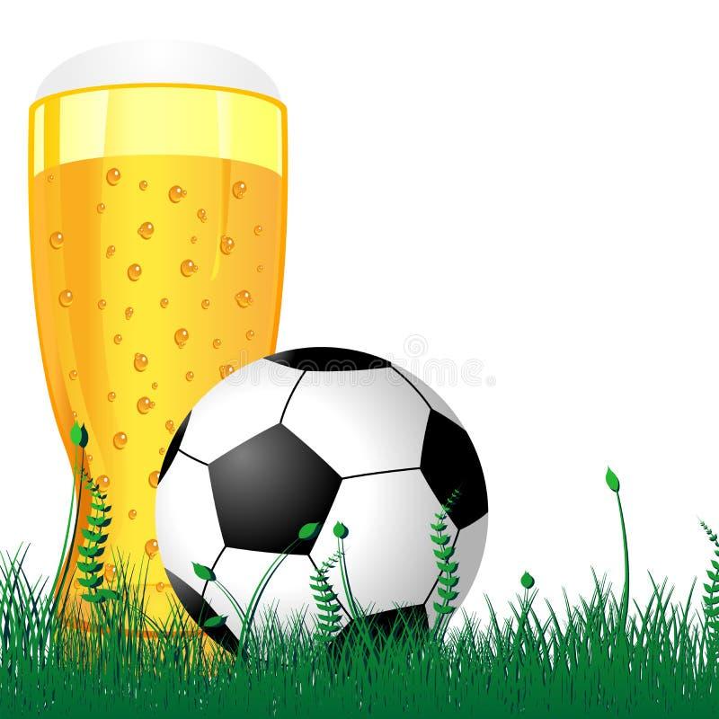 Cerveja e esfera de futebol ilustração do vetor