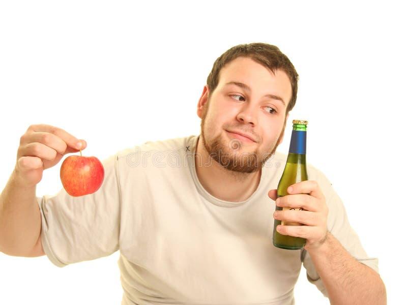 Cerveja e maçã foto de stock