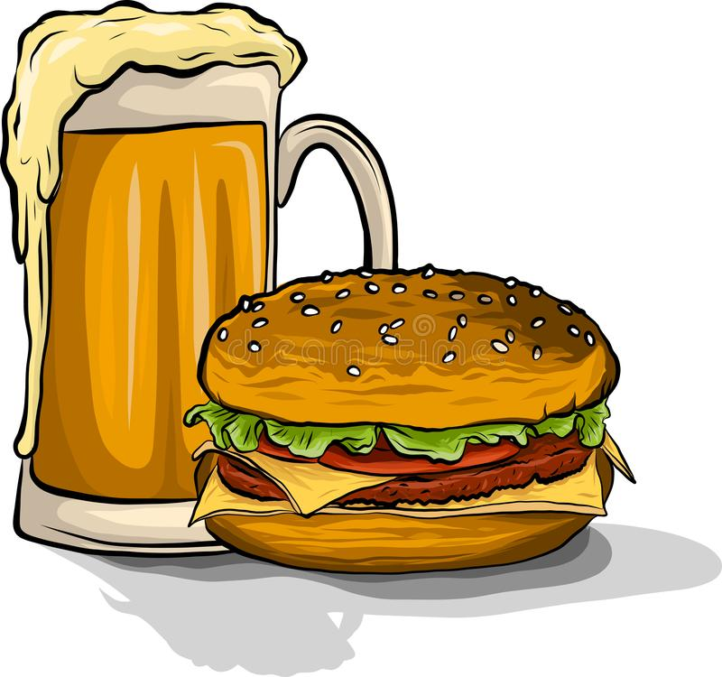 A cerveja e o hamburguer vector a ilustração no fundo branco ilustração stock