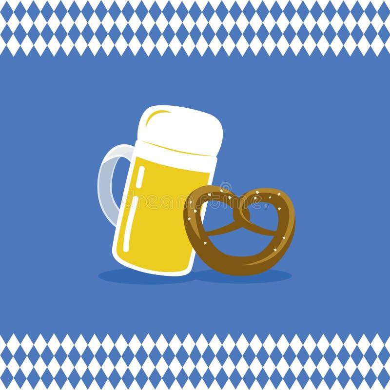 Cerveja e pretzel com fundo da bandeira do bavaria ilustração royalty free