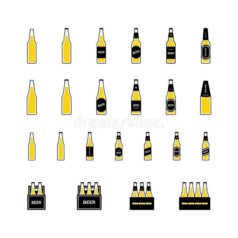Cerveja em umas garrafas e em umas caixas com bolhas, ícone colorido no fundo branco Vetor ilustração do vetor