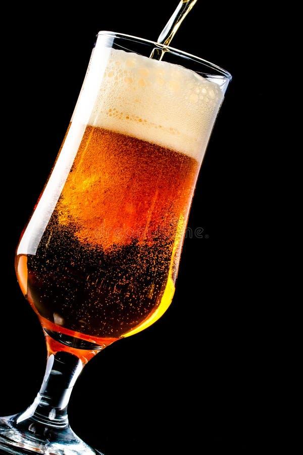 A cerveja está derramando em um vidro da garrafa no fundo preto fotografia de stock