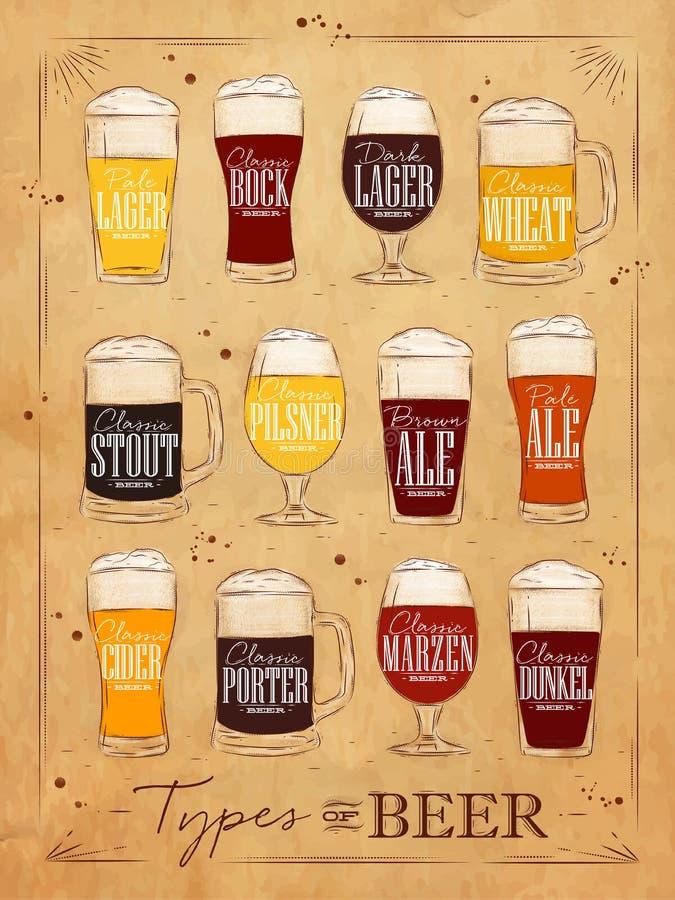 Cerveja kraft do cartaz ilustração do vetor