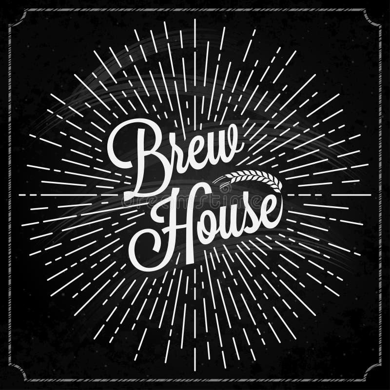 Cerveja Logo On Chalk Background ilustração stock