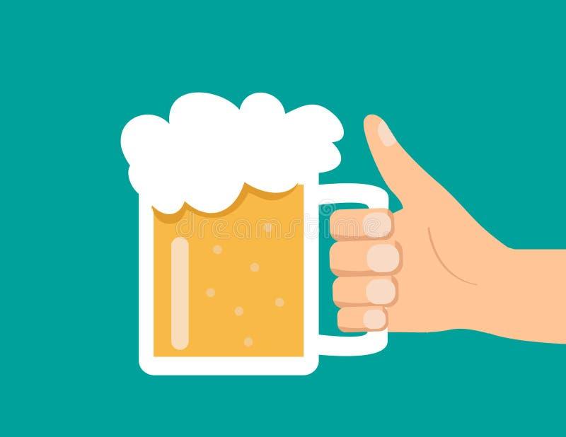 Cerveja masculina do vidro da posse da mão ilustração stock