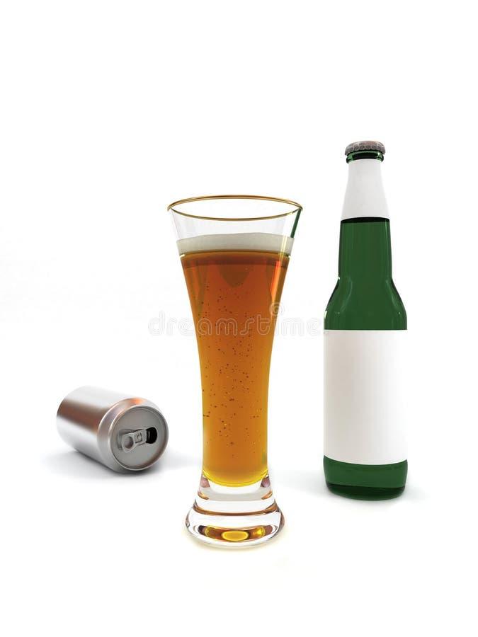 Cerveja na garrafa do vidro e de cerveja com etiqueta vazia foto de stock royalty free