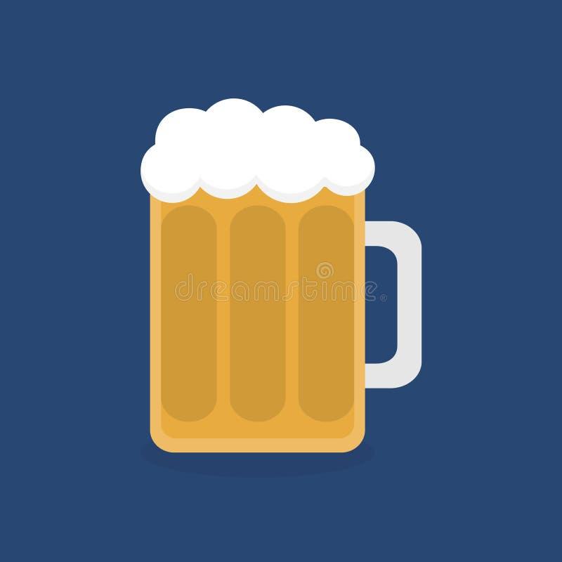 Cerveja no ícone liso de vidro do gráfico de vetor ilustração royalty free